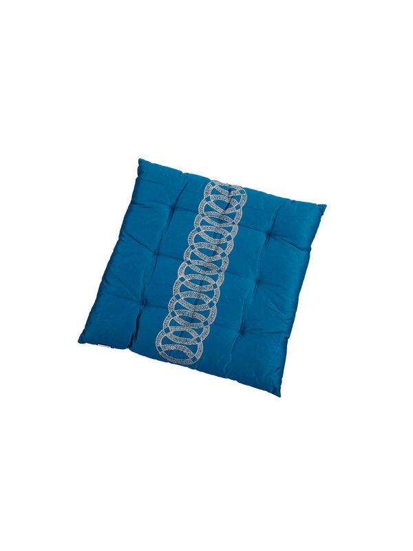 Blue Zari Embroidery Chair Pad by Dekor World