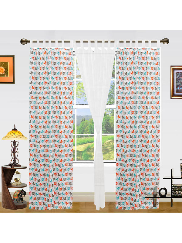 Bird Printed Cotton Loop Curtain Set (Pack of 3)by Dekor World