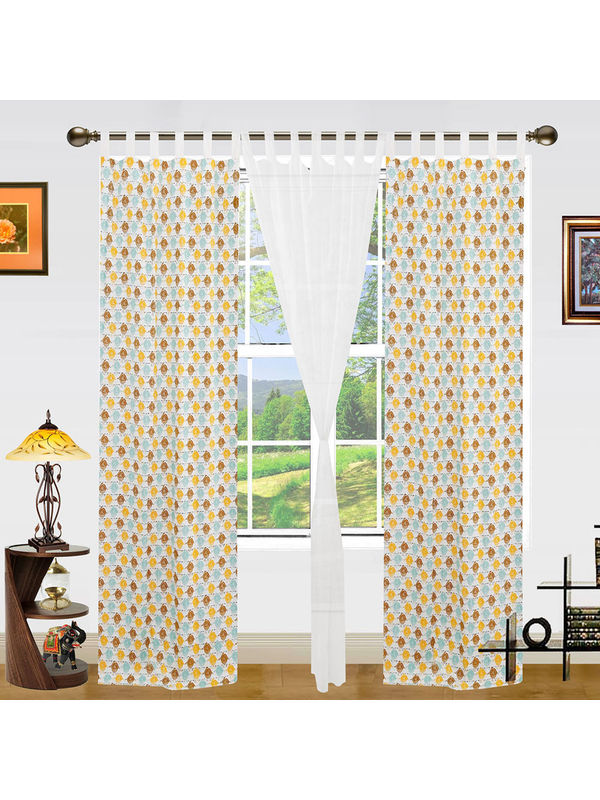 Owl Printed Cotton Loop Curtain Set (Pack of 3)by Dekor World