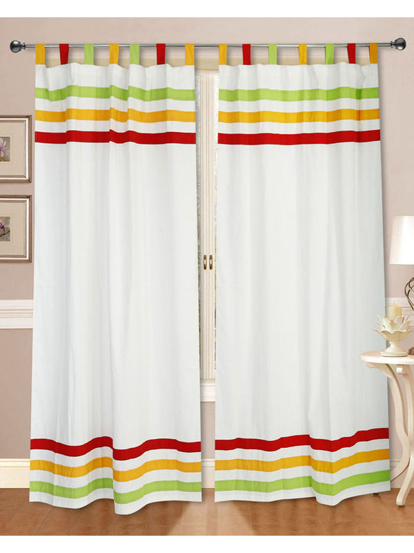 Cotton Multi Stripe Curtain (Pack of 2)by Dekor World