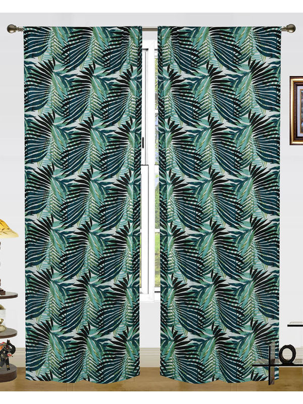 Cotton Go Green Curtain (Pack of 2)by Dekor World