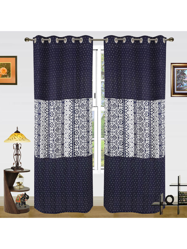 Cotton Stripe Printed Curtain (Pack of 2)by Dekor World