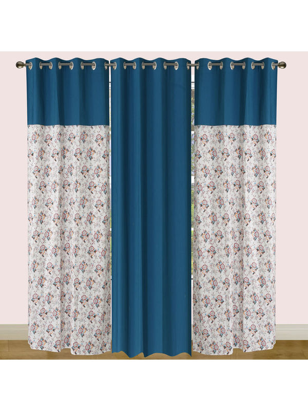 Cotton Floral Printed Curtain Set (Pack of 3 Pcs)by Dekor World