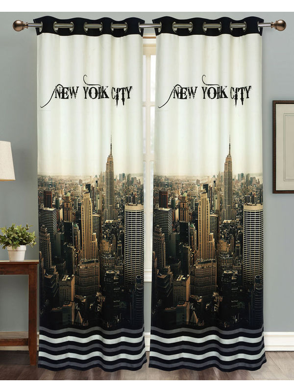 New York City Digital Printed Blackout Curtain Set (Pack of 2 Pcs)by Dekor World