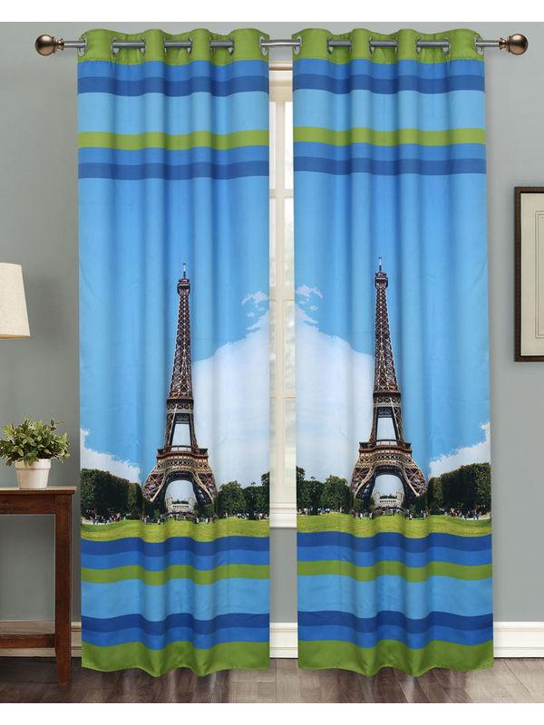 Eiffel Tower Digital Printed Blackout Curtain Set (Pack of 2 Pcs)by Dekor World