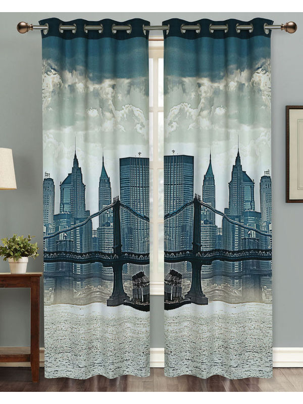 London Bridge Digital Printed Blackout Curtain Set (Pack of 2 Pcs)by Dekor World