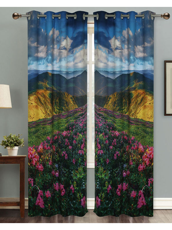 Nature Lover Digital Printed Blackout Curtain Set (Pack of 2 Pcs)by Dekor World