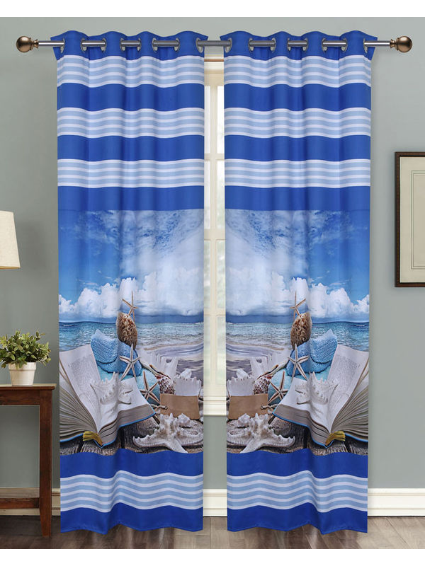 Ocean World Digital Printed Blackout Curtain Set (Pack of 2 Pcs)by Dekor World