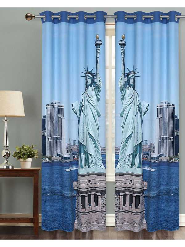 Statue of Liberty Digital Printed Blackout Curtain Set (Pack of 2 Pcs)by Dekor World