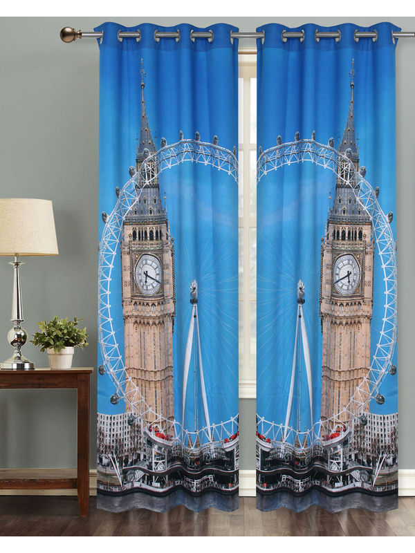 London Eye Digital Printed Blackout Curtain Set (Pack of 2 Pcs)by Dekor World