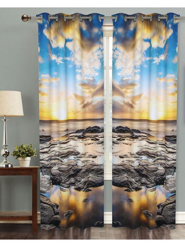 Sun Set Digital Printed Blackout Curtain Set (Pack of 2 Pcs)by Dekor World