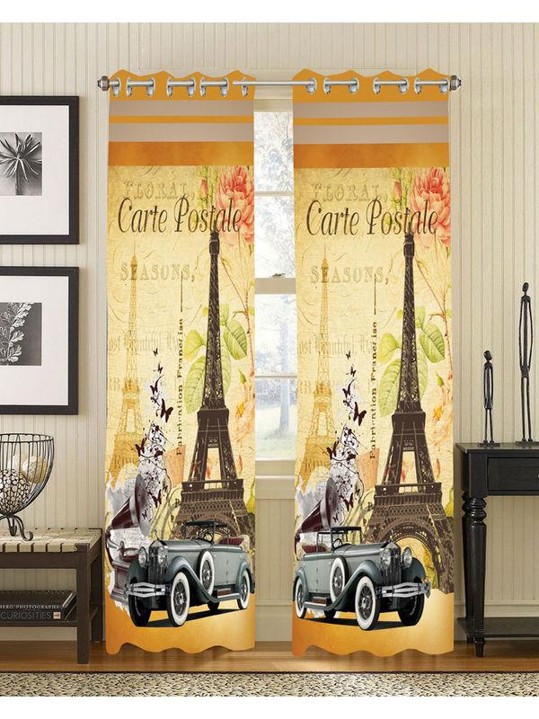 Carte Digital Printed Blackout Curtain Set (Pack of 2 Pcs)by Dekor World