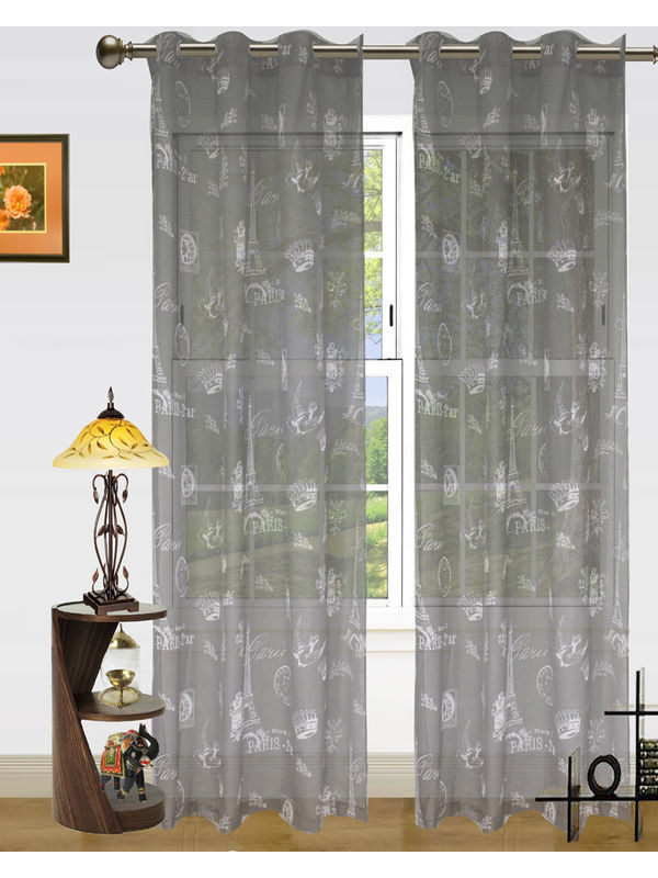 Paris Print Sheer Eyelet Curtain-Pack Of 2 by Dekor World