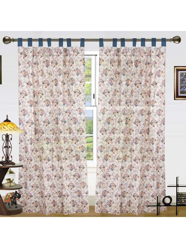 Floral Printed Cotton Loop Curtain Set (Pack of 2)by Dekor World