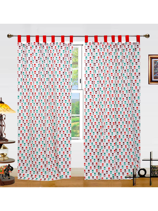 Floral Printed Cotton Loop Curtain Set (Pack of 2 Pcs)by Dekor World
