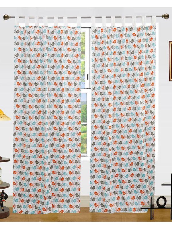 Bird Printed Cotton Loop Curtain Set (Pack of 2 Pcs)by Dekor World