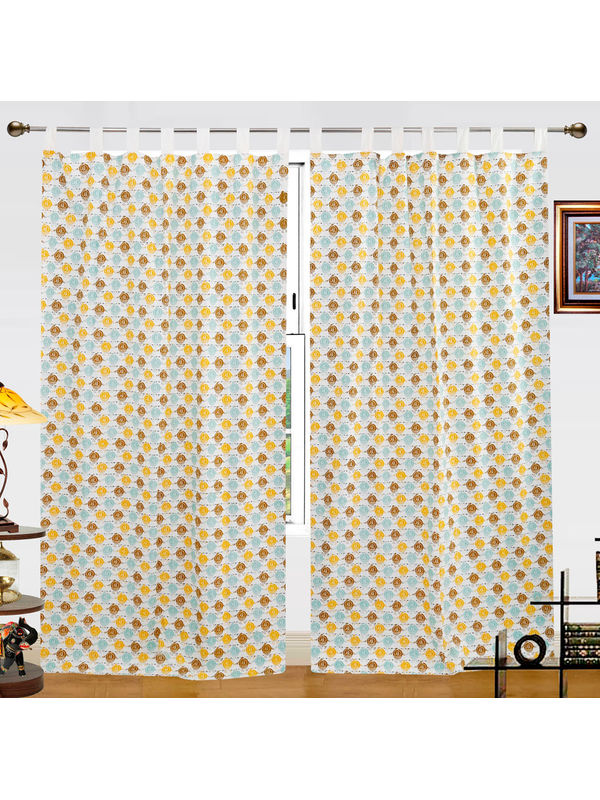 Owl Printed Cotton Loop Curtain Set (Pack of 2 Pcs)by Dekor World
