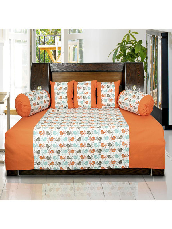 Bird Printed Cotton Orange Diwan Set (Pack of 6) by Dekor World