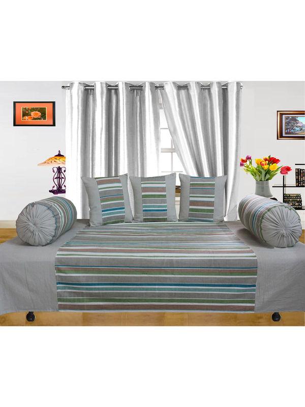 Cotton Multi Stripe Diwan Set (Pack of 6 Pcs) by Dekor World  (MORE COLORS)