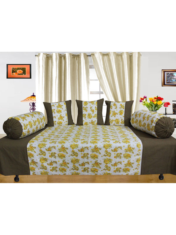Floral Printed Diwan Set (Pack of 6 Pcs) by Dekor World  (MORE COLORS)