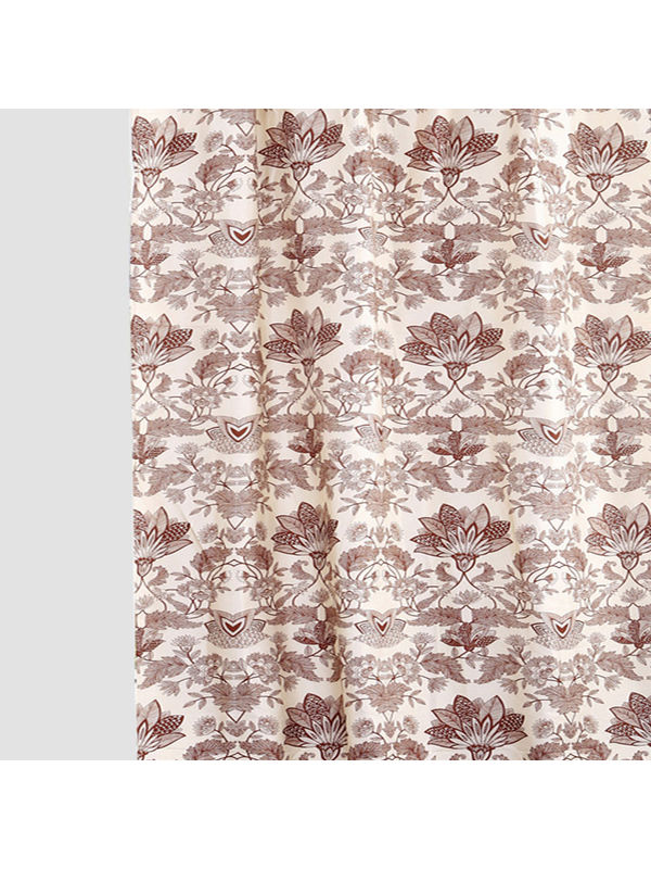 Floral Printed Brown Fabric by Dekor World  (MORE COLOR)