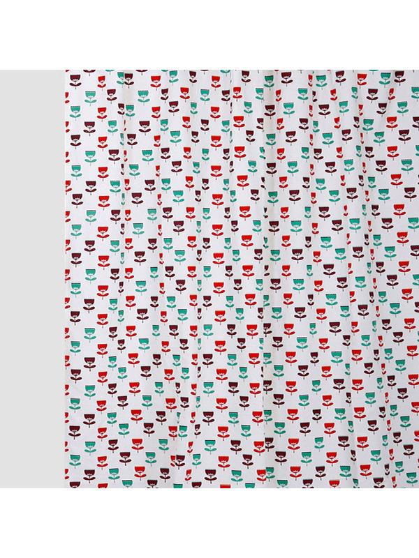 Multi Flower Red Cotton Fabric by Dekor World
