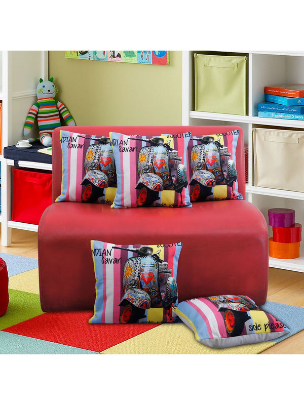 Fun Club Indian Savari Cushion Cover (Pack of 5 Pcs)