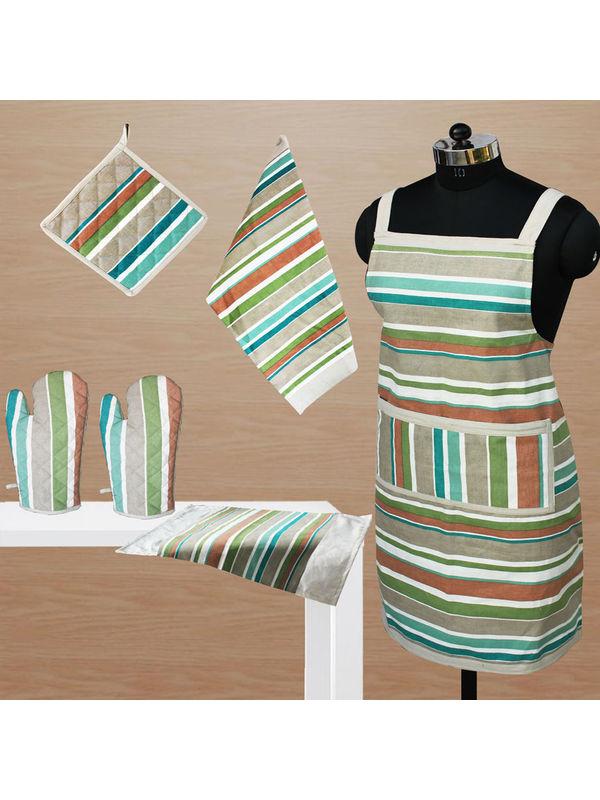 Stripe Apron Combo. Set of 6 Pcs by Dekor World (MORE COLOR)