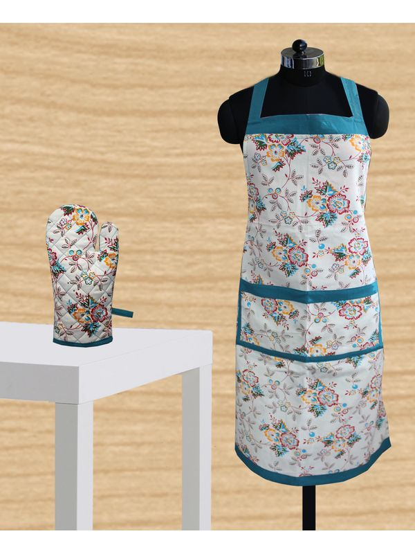 Multi Floral Apron Glove Set by Dekor World