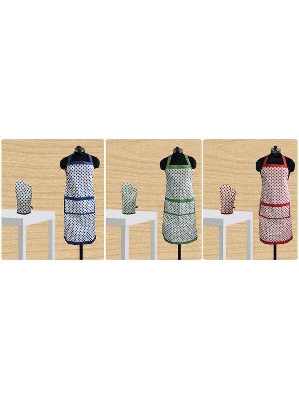 Polka Dot Apron Glove Set by Dekor World (MORE COLOR)