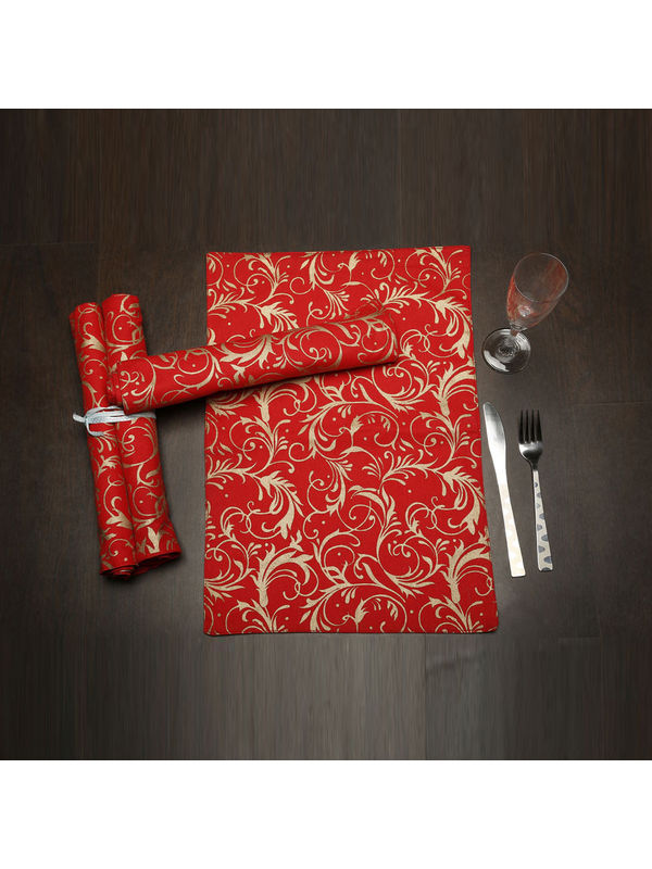 Cotton Gold Printed Place Mat (Pack of 6) by Dekor World