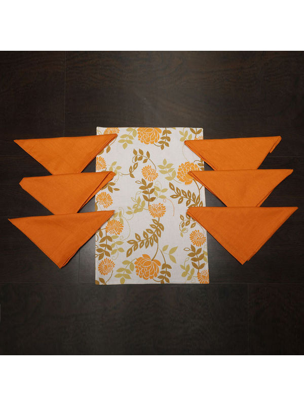 Floral Orange Cotton Printed Place Mat With Napkins (Pack of 12) by Dekor World