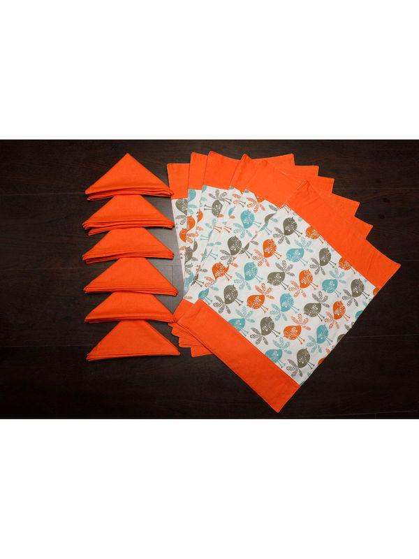 Bird Orange Cotton Printed Place Mat W/ Napkin (Pack of 12) by Dekor World