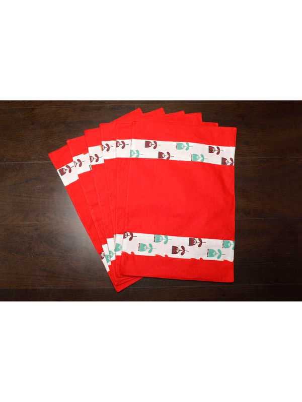 Floral Red Cotton Printed Place Mat (Pack of 6) by Dekor World