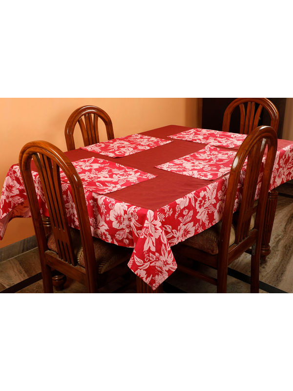 Dekor World Floral Printed Maroon Table Cover With Place Mat (Pack of 5)