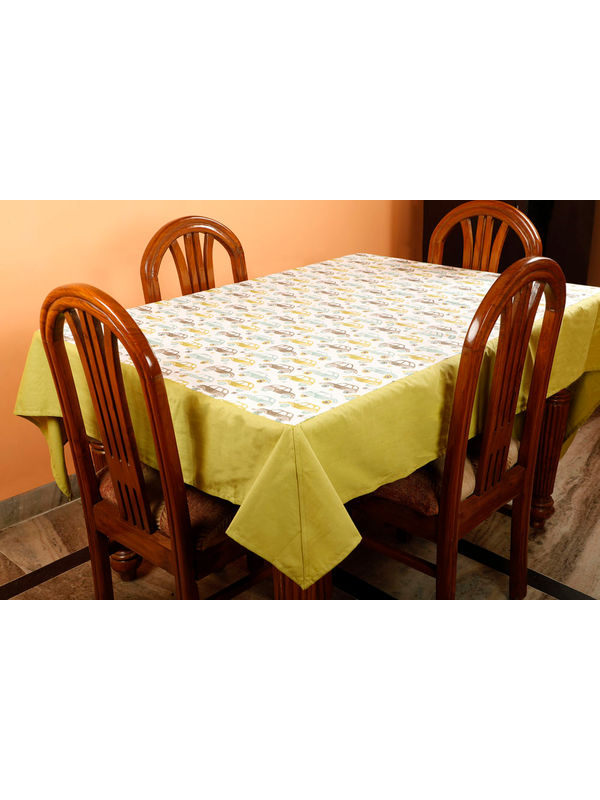 Dekor World Car Printed Green Table Cover (Pack of 1)