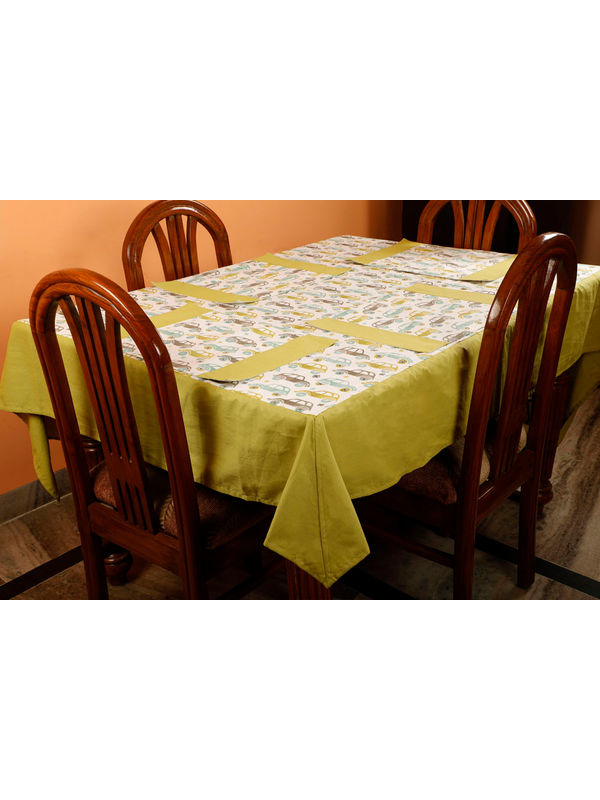Dekor World Car Printed Green Table Cover With Place Mat (Pack of 5)