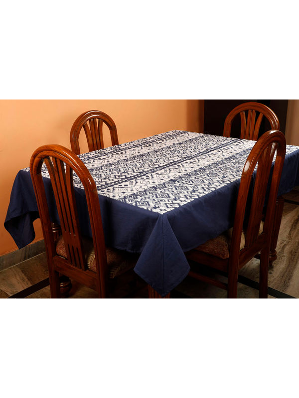 Dekor World Ikat Printed Blue Table Cover (Pack of 1)