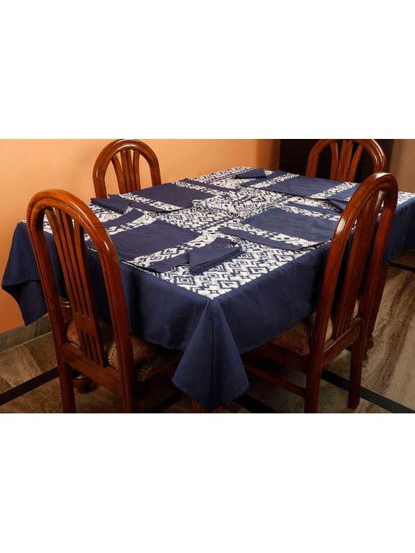 Dekor World Ikat Printed Blue Table Cover With Place Mat & Napkin (Pack of 13)