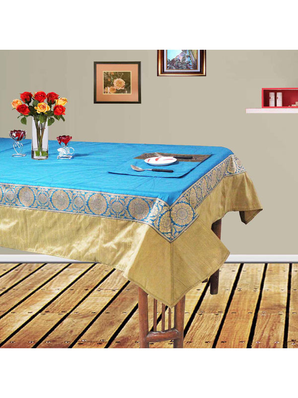 Dekor World Ethnic Zari Lace Table Cover With Place Mat (Pack of 5 Pcs)