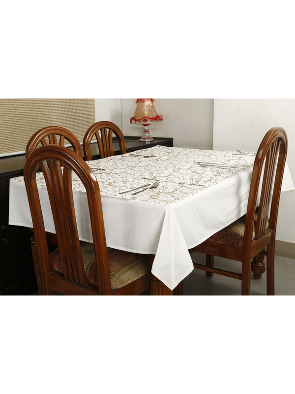 Dekor World Gold Printed White Table Cover Set (Pack of 5)