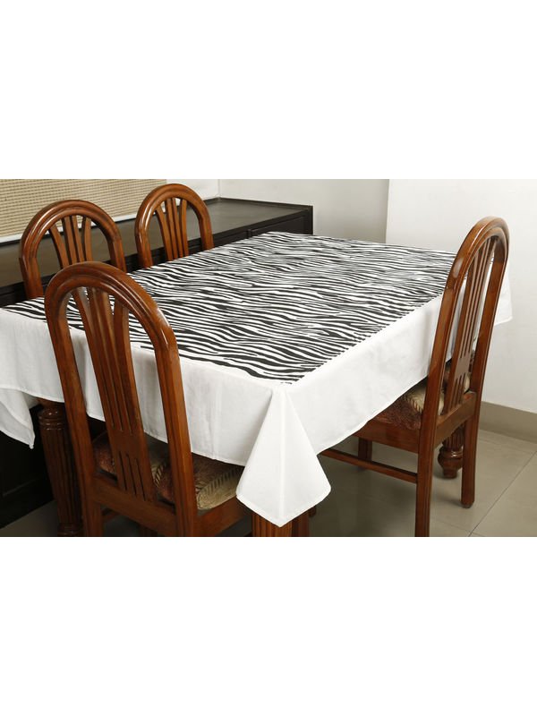 Dekor World Animal Printed White Table Cover