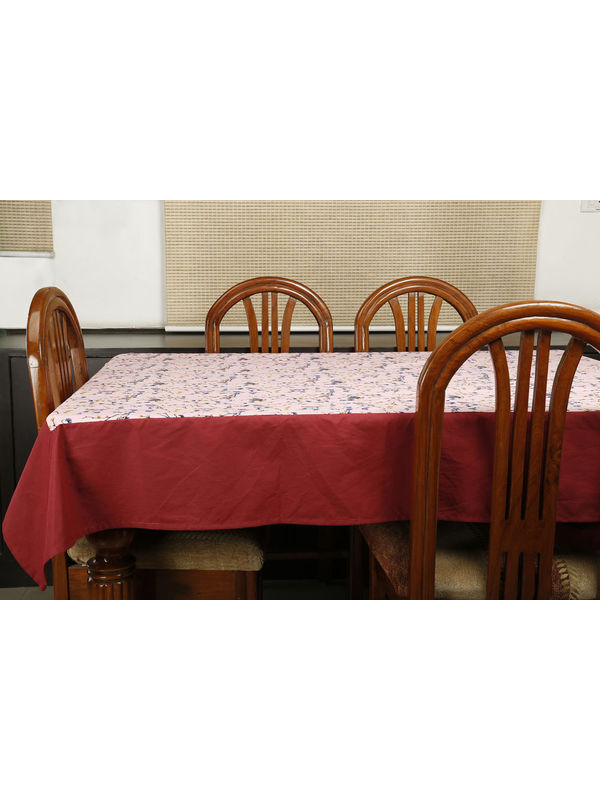 Dekor World Bird Printed Pink Table Cover