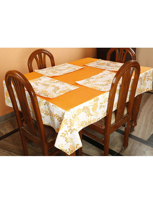 Dekor World Floral  Printed Orange Table Cover With Place Mat (Pack of 5)