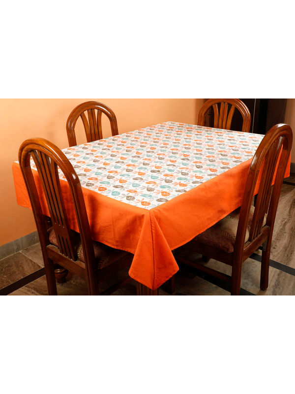 Dekor World Bird Printed Orange Table Cover (Pack of 1)