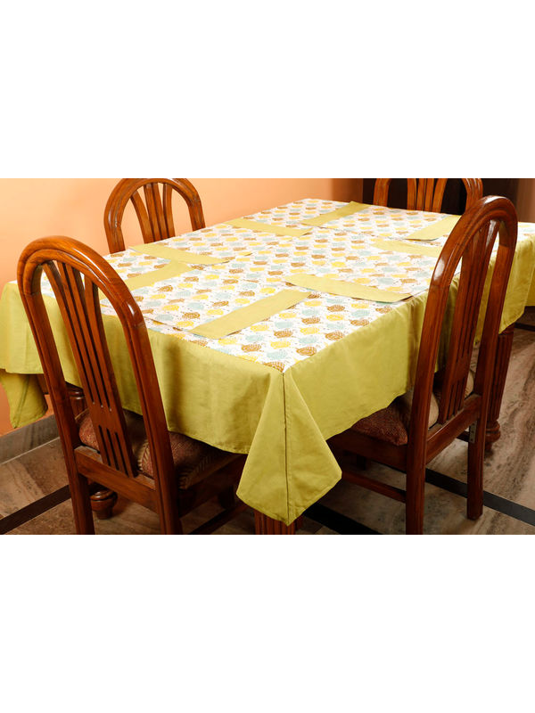 Dekor World Owl Printed Green Table Cover With Place Mat (Pack of 5)