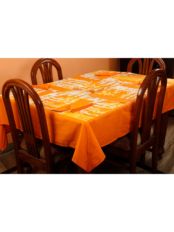Dekor World Abstract Printed Orange Table Cover With Place Mat & Napkin (Pack of 13)