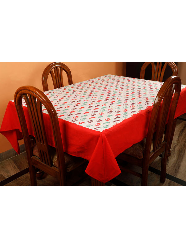 Dekor World Floral Printed Red Table Cover (Pack of 1)