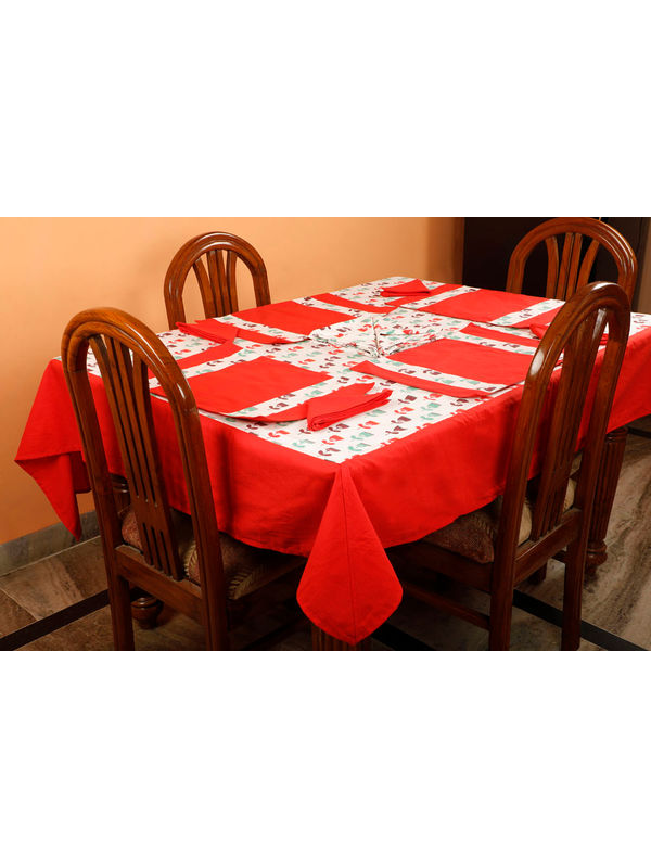 Dekor World Floral Printed Red Table Cover With Place Mat & Napkin (Pack of 13)