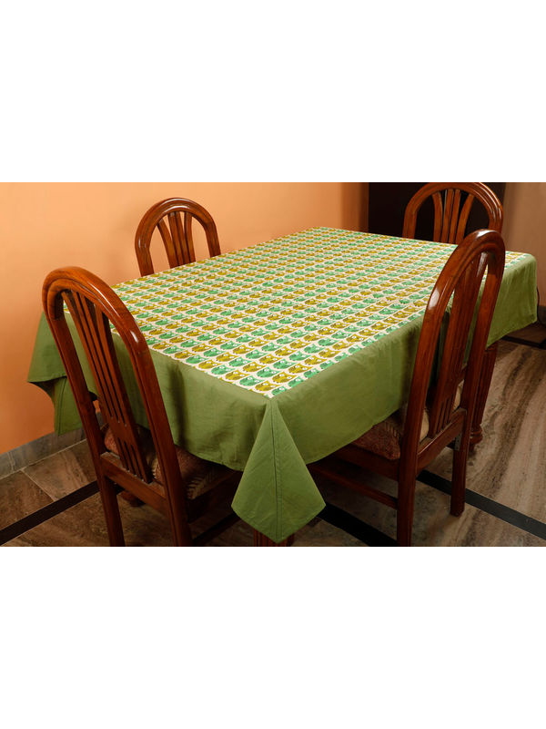 Dekor World Owl Printed Green Table Cover (Pack of 1)
